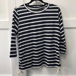 Navy Striped Knit Top